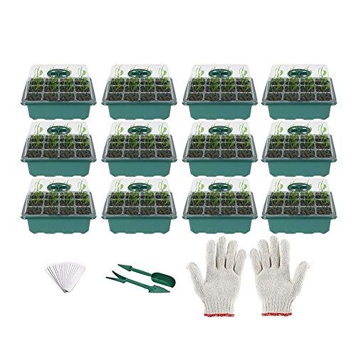 Caja de Cultivo, Mini Set de Cultivo en Invernadero, bandejas de Inicio de plántulas, Bandeja de Cultivo en Invernadero de Interior con Tapa y ventilación para Planta de plántula (Color : Green)