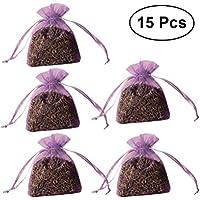VORCOOL 15 Piezas con cordón Sachets Lavanda Fragancia Olor bolsita de Bordado (luz púrpura)
