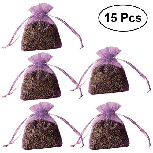 VORCOOL Lot DE 15 Sacs Cordon Sachet parfumé Parfum Lavande Broderie Sac (Violet Clair)