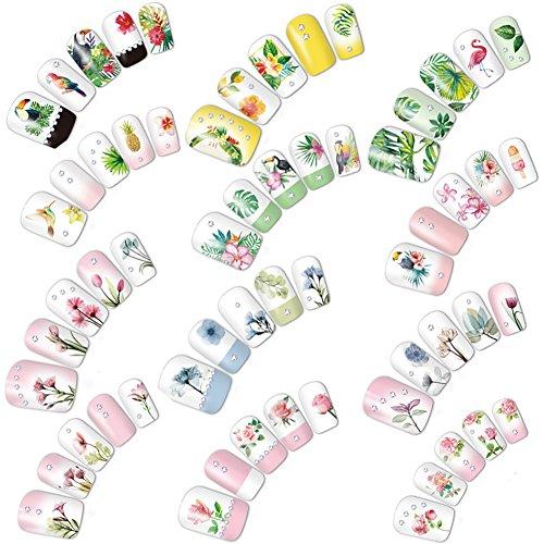 AIUIN Nail Sticker 12pcs Petite applique imperméable à l'eau 3D pour clouer Tip Stickers Set avec différentes formes pour clous de manucure Pour Ongles Nail Outils Artistiques