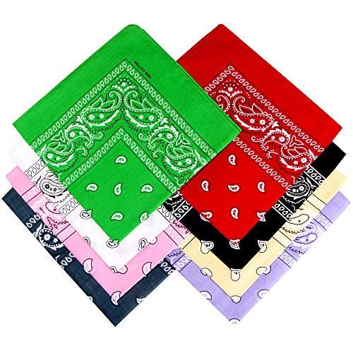 Ambielly Pañuelos Clásico Impresión Paisley Pañuelos 100% algodón Envoltura de la cabeza Pulseras Bufandas (002)