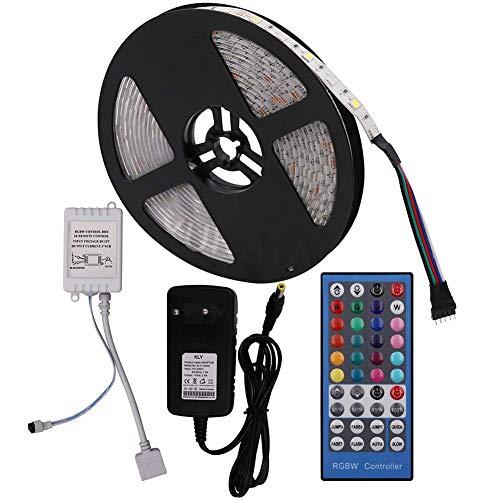 XUNATA 12V Tiras LED RGBW 5050 SMD 300 LEDs Para TV Tira de Luces LED Kit Completo con control remoto de 40 teclas (Impermeable (Ip65), 5m (RGB + Blanco))