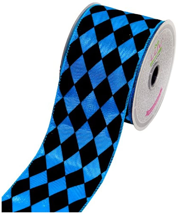 LUV RIBBONS by Creative Ideas 2-1/2-Inch Diamond Print Ribbon, 10-Yard, Turquoise with Black