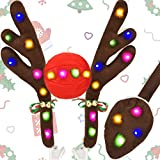 Kooboe Christmas Reindeer Antlers Car Decoration Kit with LED Lights, Vehicle Christmas Car Kit with Jingle Bells Rudolph Reindeer and Nose, Tail for The Trunk, Decoration Kit Best for Any Vehicle