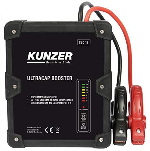 KUNZER (CSC 12) Wartungsfreie Starthilfe 12V mit Ultrakondensatortechnik – Batterielos betriebenes Batterie-Startgerät