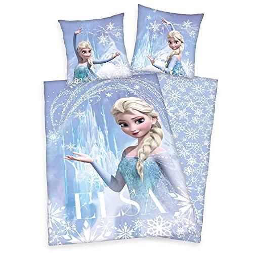 Disney Frozen Elsa Franela de Castor Ropa de Cama Reversible Set 80x80 CM 135x200 CM