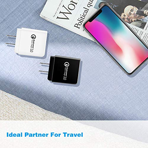 Quick Charge 3.0 Wall Charger, 2Pack Canjoy 18W Certified QC 3.0 USB Wall Charger Fast Charging Block Compatible with 10W 7.5W Wireless Charger Pad / Stand, Samsung Galaxy Note 10,Note 10+,S10 S9 S8 Plus, Note 9 8, iPhone, iPad, LG V40 V30 G5 G6 and More( QC 2.0 Compatible)
