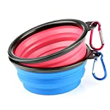 H&S 2 Dog Bowl Collapsible Travel Dog Water Bowl Portable Cat Pet Silicone Food Bowl Small