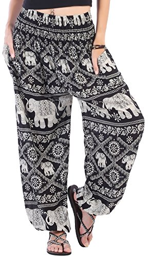 CandyHusky Elastic Waist Peacock Print Loose Baggy Hippie Boho Yoga Harem Pants (Elephant 1 Black)