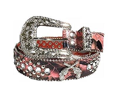 DH Camo Leather Bling Buckle Rhinestone Cross Spiritual Western Cowgirl Belt Pink (Pink gun, XL)