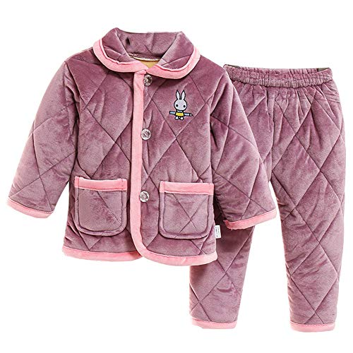 HOUXIAONI Épaississement de l'hiver Flannels Pyjamas Vêtements de Nuit Chemise de Nuit Style Britannique Type de Bouton Vêtements de Nuit Bébé Unisexe Maison Lazy purple-B-90