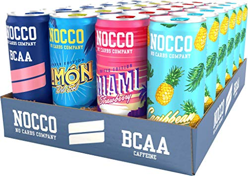 NOCCO BCAA Mix SUMMER EDITION 24 x 330ml inkl. Pfand – Limón del Sol, Caribbean, Tropical, Strawberry Miami