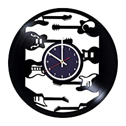 Music Guitar Quadrant Bracket Musical Instrument Vinyl Record Wall Clock