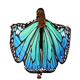 EDOTON Alas De Mariposa para Las Mujeres Niñas, NINFA Duendecillo Traje Accesorio Chales Fiesta Cosplay Traje de Baile (Azul y Verde)
