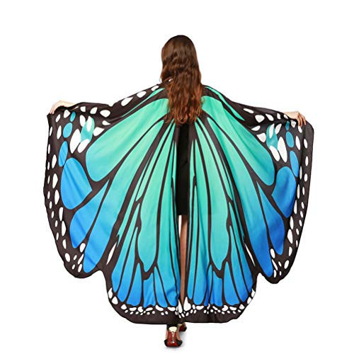 EDOTON Schmetterlingsflügel für Frauen, Nymphe Pixie Kostüm Zubehör Schals Party Cosplay Tanzkostüm (Blau Grün)