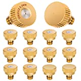 HOMENOTE 10 Pack Brass Misting Nozzles and 2 Pack Plug for Outdoor Cooling System,0.012' Orifice (0.3 mm) 10/24 UNC, Suit misting System