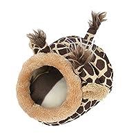 Lifemaison ハムスター ハウスベッド ハンモック 寝袋 小動物用 寒さ対策 冬用 暖かい 可爱い クッション 洗える ハリネズミ モルモット(キリン,L)