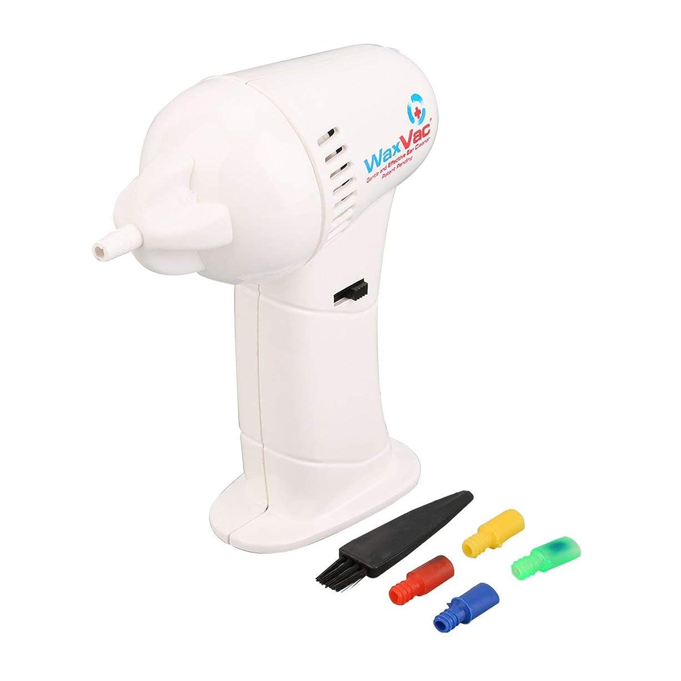 ポータブルサイズ電子耳掃除機耳ワックスVac除去安全体ソフト&安全ヘッド付きヘルスケア-ホワイト