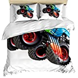 3 Piece Bedding Set Comforter/Quilt Cover Set Twin Size, Cartoon Monster Truck Cool Vehicle Modified to The Perfection Colorful, Duvet Cover Set with 2 Pillow Shams for Kids/Teens/Adults/Toddler