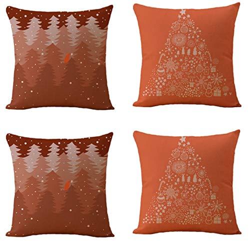 JgZATOA Cartoon Christmas Tree CushionCover PillowCaseLivingRoomSofaCouchBedPillowcasesOfficeCushion45CmX45CmSetOf4
