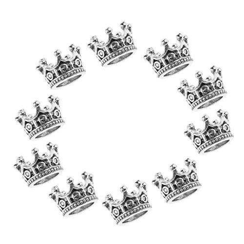 D DOLITY 10x Vintage Krone Anhänger Perlen Perlenkappen Zwischenperlen Metallperlen Perlkappen Metall Perlen Spacer Charms - Splitter, 6 x 11 mm