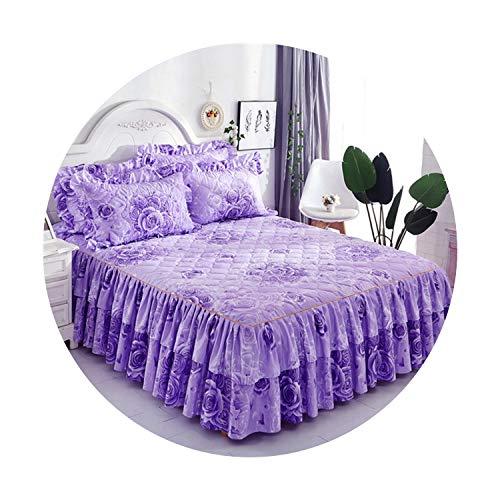 Suzanne Betty Falda de cama gruesa de doble encaje para cama de poliéster para boda, regalo de inauguración de la casa, funda de cama con banda elástica, 11,150 x 200 cm