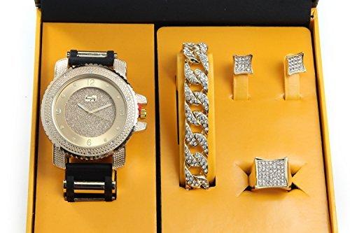 È illuminata. Orologio hip hop & Jewerly set W/Cuban catena braccialetto, kite Bling orecchini e anello–GJM13oro