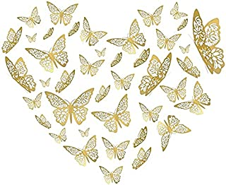 Mumoo Bear Butterfly Wall Decor Sticker Wall Decal, 48 Pcs Gold 3D Art Removable Mural Decoration DIY Flying Decor for Kid...