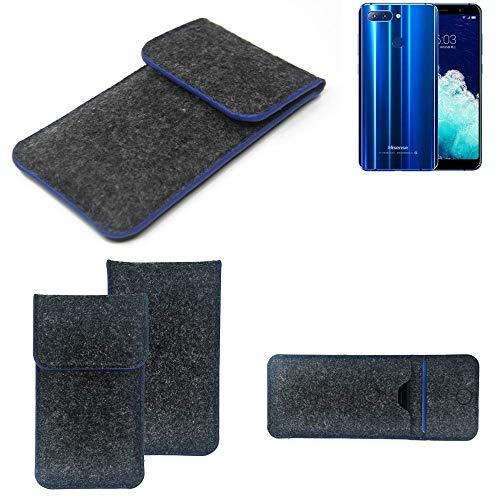 K-S-Trade Handy Schutz Hülle Für Hisense Infinity H11 Pro Schutzhülle Handyhülle Filztasche Pouch Tasche Hülle Sleeve Filzhülle Dunkelgrau, Blauer Rand