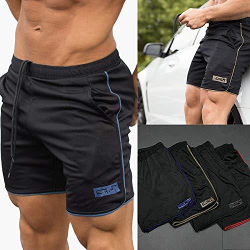 HaiQianXin Pantalones Cortos Deportivos de Secado rápido para Hombres Correr Gimnasio Fitness Culturismo Jogger Pantalones Pantalones Cortos Pantalones Cortos (Color : 3, Size : L)