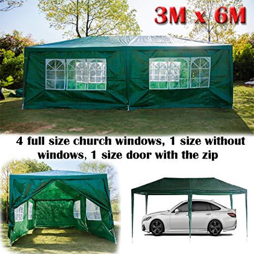 Yiyai 3 m x 6 m Gazebo Marquee con Paneles Laterales Impermeable y protección UV toldo 120 g PE Power Coated Marco de Acero para Camping, Barbacoa Verde