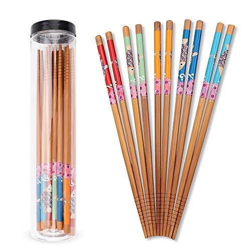 Deciniee 5 Pares de Palillos, 5 Colores Juego Palillos de Patrones Bonitos Palillos de Madera con Cilindro Palillos Japoneses Reutilizables Antideslizantes Palillos de Sushi Aptos para Lavavajillas