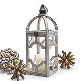 Alabaster Design Wood Decorative Candle Lantern Rustic 15.5' Home Decor Hurricane Lantern for Indoor Outdoor Use Hanging Lantern