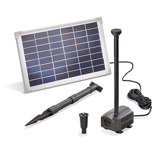 Solar Teichpumpe 12 Watt Solarmodul 650 l/h Förderleistung 1,4 m Förderhöhe esotec Professional Produktserie Komplettset Springbrunnen Gartenteich, 101912
