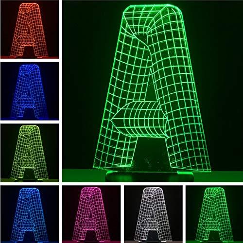 Nur 1 Artikel Lava Birne A bis Z Wort 3D Nachtlicht LED Tischlampe Spielzeug Geschenk Schreibtisch Tischlampe Haus Dekoration