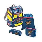 """Step by Step Schulranzen-Set 2IN1 DIN """"Horse Family"""" 4-teilig, blau-rot, Pferde-Design, ergonomischer Tornister mit Reflektoren, höhenverstellbar mit Hüftgurt für Mädchen ab der 1. Klasse, 19L"""