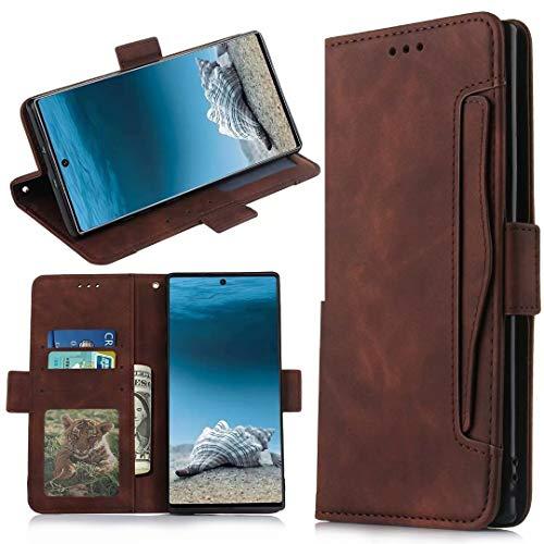für Samsung Galaxy A12 Hülle Flip Lederhülle, Samsung Galaxy A12 Handyhülle Book Hülle PU Leder Etui Tasche Hülle mit Kartenfach Ständer & Magnet Schutzhülle Bumper für Samsung Galaxy A12 braun