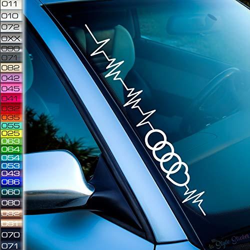 1A Style Sticker Kompatibel mit Audi Aufkleber Pulsschlag Ringe Frontscheibenaufkleber Herzschlag Liebhaber Ringe F12