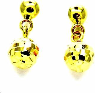 Pegaso Joyería–Pendientes oro amarillo 18kt colgantes pequeños con bolas Diamante Mujer Niña Niña