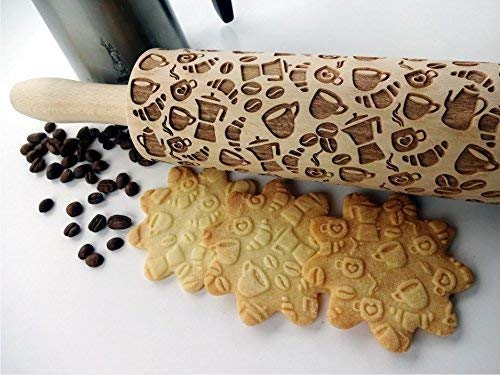 COFFEE EMBOSSING ROLLING PIN PATTERN with COFFEE BEANS for EMBOSSED COOKIES LATTE MOKA