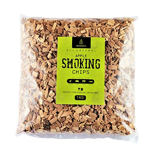 Woodabrix BBQ Smoking Wood Chips for Charcoal, Gas BBQ/Smoker, 100% Natural, 1kg/2lb 3oz (4 Litre), Apple