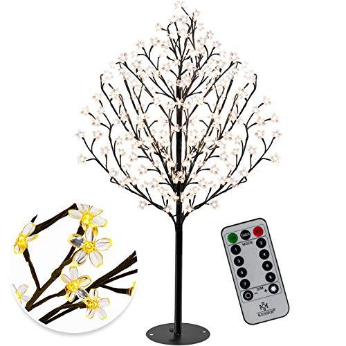 KESSER® Kirschblütenbaum mit Fernbedienung | Lichterbaum Indoor Outdoor Metallfuß Stabil | Weihnachten Beleuchtung Leuchtbaum Warmweiß (180cm)