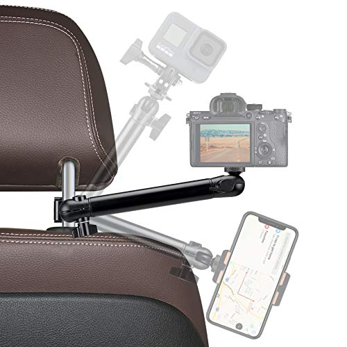 Heavy Duty Action Camera Motion Camcorder Smartphone Car Headrest Mount Vehicle Cab Driver FPV Video Arm Holder Mounts Vlog Rig Compatible with GoPro Hero 9 8 Sony Canon Nikon iPhone Samsung