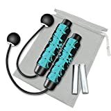 Redify Weighted Cordless Jump Rope for Fitness [Suitable for Different Ages and Levels] Ropeless Jump Rope for Crossfit Boxing MMA WOD Training, High Speed Rope Skipping for Narrow Space (Blue)