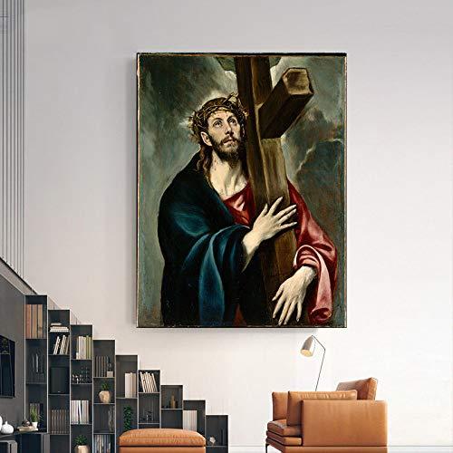 N / A Pintor español Famoso Lienzo Pintura Mural Jesucristo Pintura al óleo Pintura Decorativa Sala de Estar Pintura Decorativa con caligrafía 40X50 cm