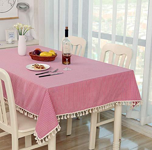 ggzgyz Jardín Mantel a Cuadros de Punto Cena Rectangular Mantel antiderapante Decoración de Cocina para el hogar Cubierta de Tabla de Rayas Borla de Encaje