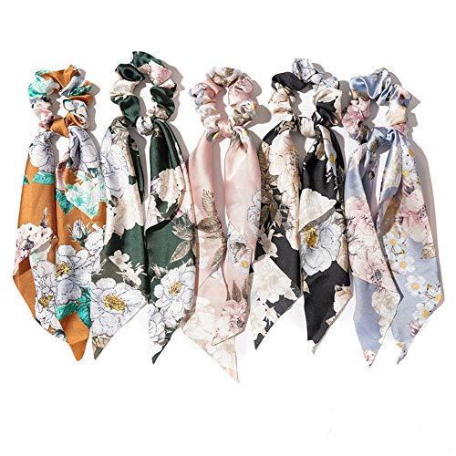 Ayangg Acessórios para cabelo com faixa de cabelo floral, laço longo estampado, turbante retrô, design durável punk, para mulheres, senhoras e meninas