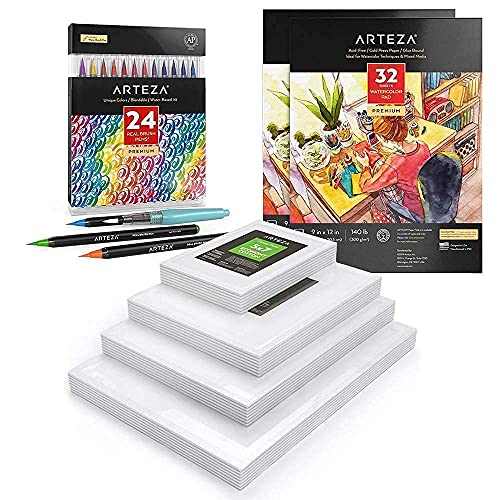 Arteza Real Brush Pens, Watercolor Paper and Canvas Panels Multi Pack Bundle, Drawing Art Supplies for Artist, Hobby Painters & Beginners