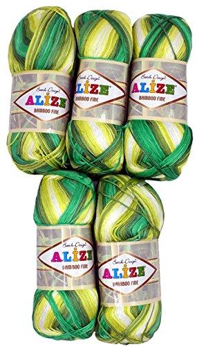 Alize Bamboo fine 5 x 100 Gramm Bambuswolle Mehrfarbig mit Farbverlauf, 500 Gramm 100% Bambus Strickwolle (grün gelb weiß 4557)