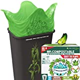 100% Compostable Trash Bags, 13 Gallon, 49.2 Liter, 46 Count, Extra Thick 1 mil Biodegradable Garbage Bags, Tall Kitchen Trash Bags, ASTM D6400, US BPI and Europe OK Compost Home, Drawstring S-shape